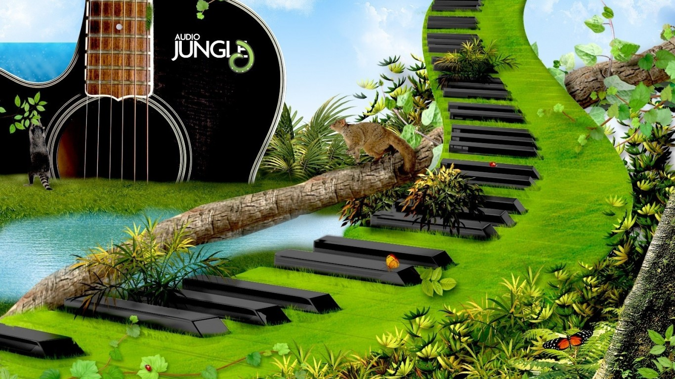 Digital Art  Piano Keys  3D  Music