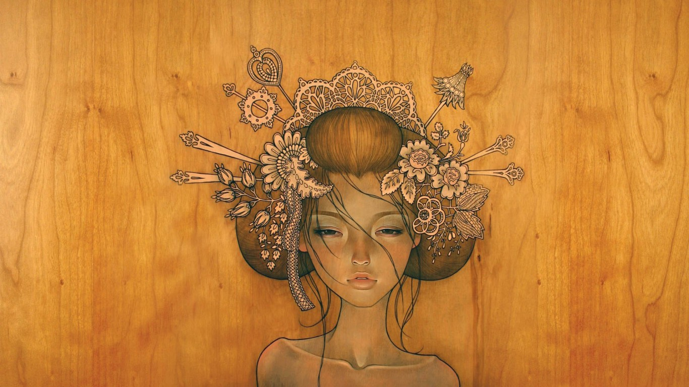 Woman Drawing By Audrey Kawasaki
