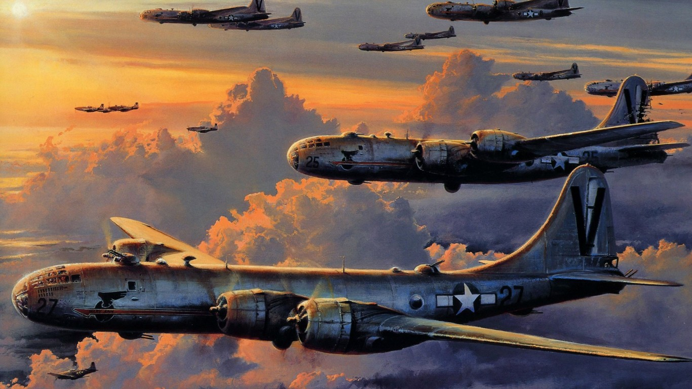 Paintings  Bomber  B-29 Superfortress