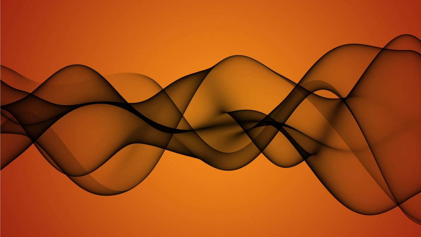 Transparent Waves On Orange Background