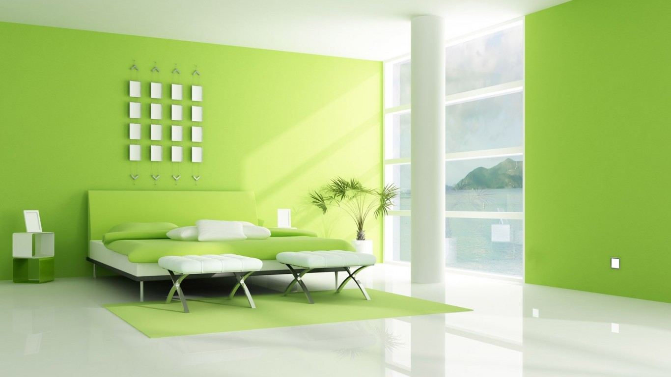 Green  Interior  Bedroom  3D  Render
